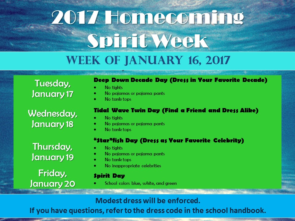 2017 Spirit Week Days