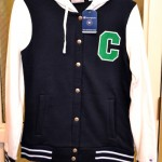 Navy Letter Jacket Zip-Up Sweatshirt - White Sleeves