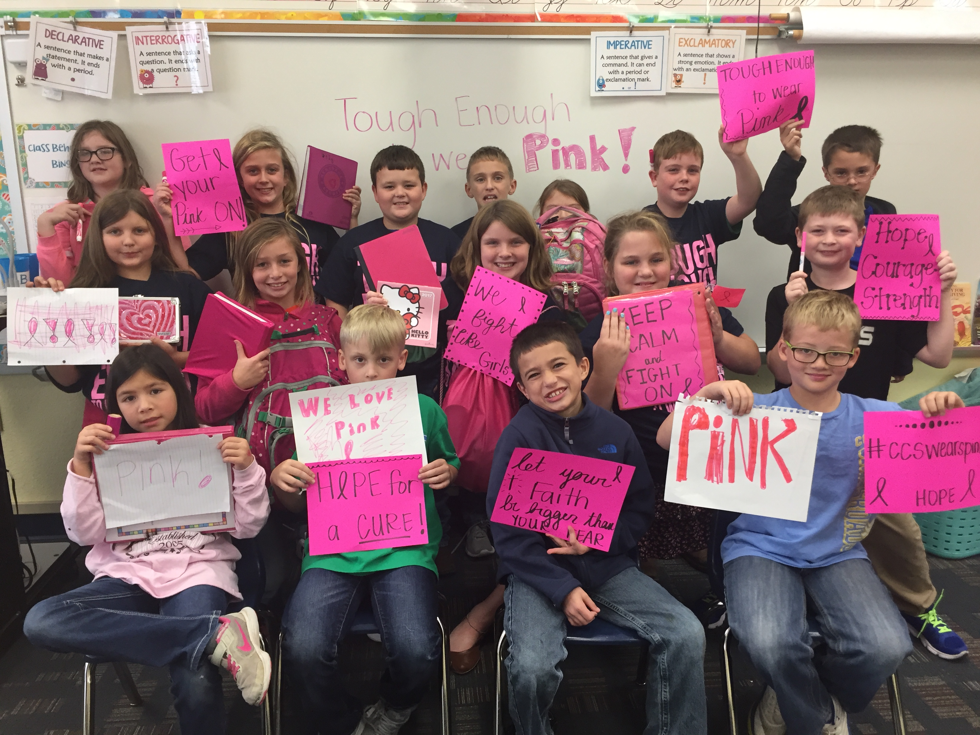 4th Grade Pink Out Class from 2017